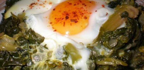 Yumurtalı ıpanak kavurması