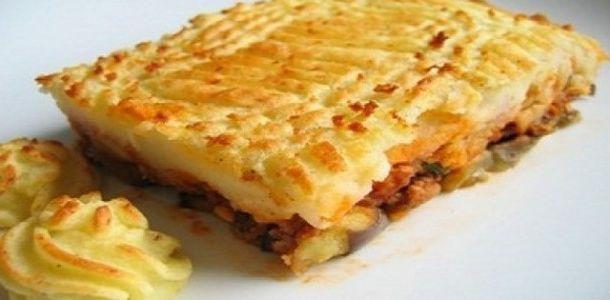 Patates püreli tepsi kebabı